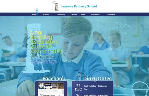 Screenshot of the Leasowe Primary School website