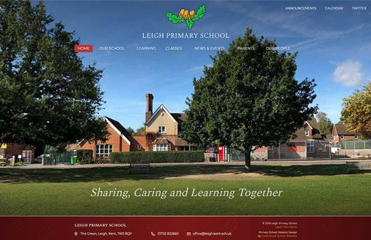 Screenshot of the Leigh Primary School website