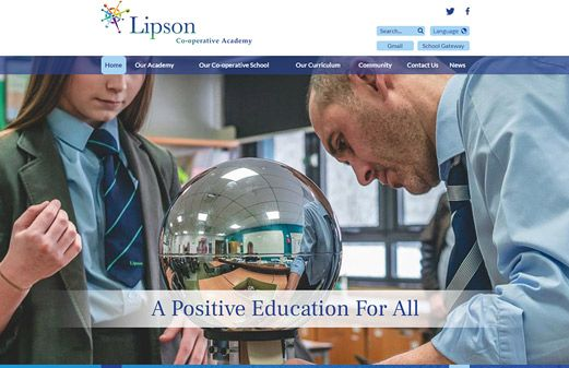 Screenshot of the Lipson Community College website
