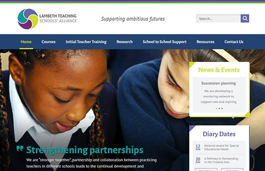 Screenshot of the Lambeth Teaching School Alliance website