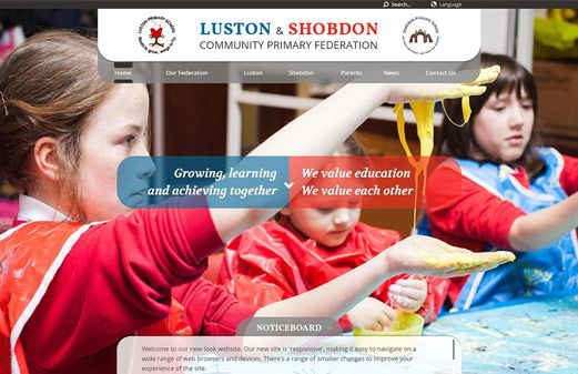 Screenshot of the Luston and Shobdon Community Primary Federation website