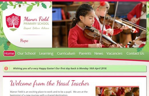 Screenshot of the Manor Field Primary School website