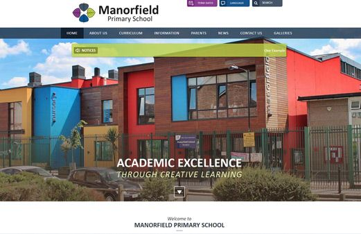 Screenshot of the Manorfield Primary School website