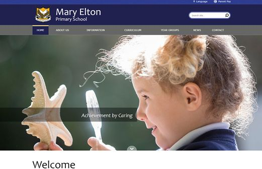 Screenshot of the Mary Elton Primary School website
