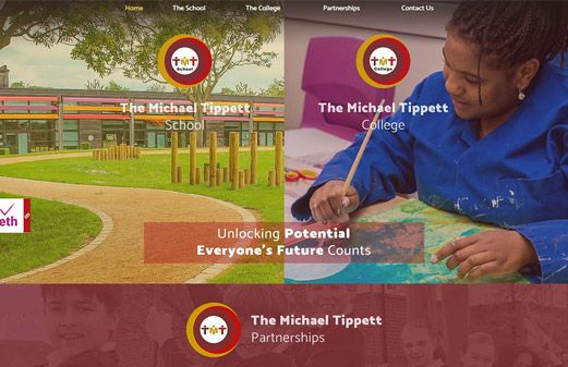 Click to view school website design for The Michael Tippett School