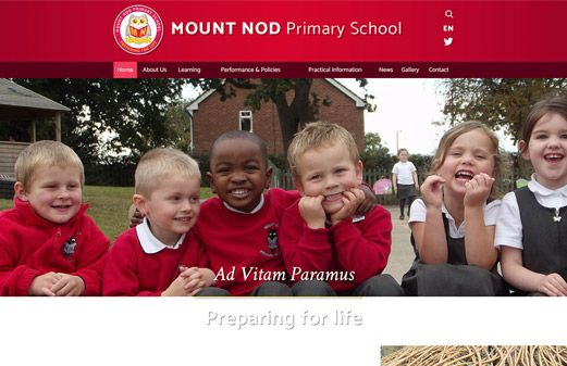 Screenshot of the Mount Nod Primary School website