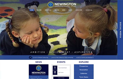 Screenshot of the Newington Community Primary School website