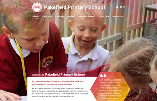 Screenshot of the Pakefield Primary School website