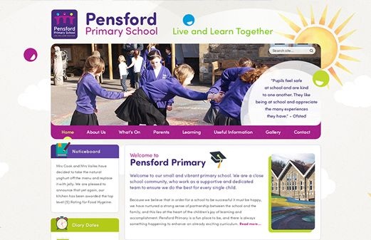 Screenshot of the Pensford Primary School website