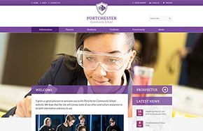 Screenshot of the Portchester Community School website