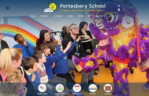 Screenshot of the Portesbery School website