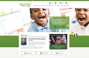 Screenshot of the Pound Park Nursery School website