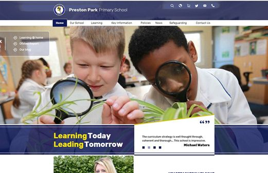 Screenshot of the Preston Park Primary website