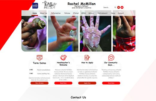 Screenshot of the Rachel McMillan Nursery School and Children Centre website