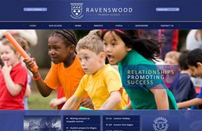 Screenshot of the Ravenswood Primary School website