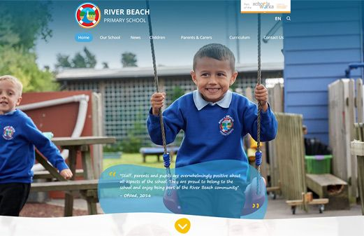 Screenshot of the River Beach Primary School website