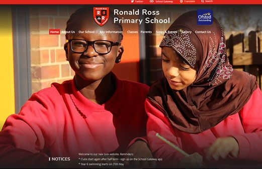 Screenshot of the Ronald Ross Primary School website