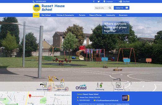 Screenshot of the Russet House School website