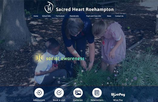 Screenshot of the Sacred Heart Catholic Primary - Roehampton website