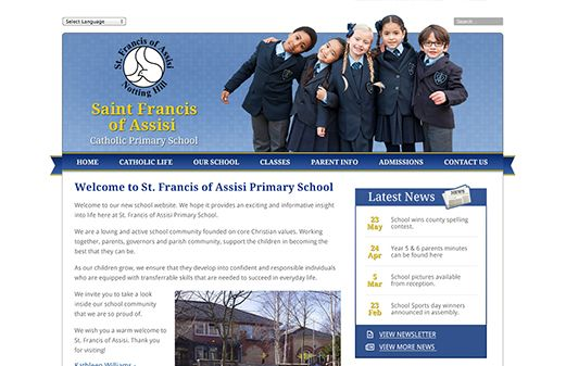 Click to view school website design for Saint Francis of Assisi Catholic Primary School