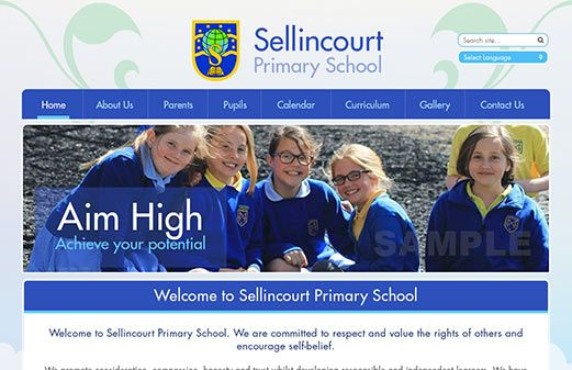 Screenshot of the Sellincourt Primary School website