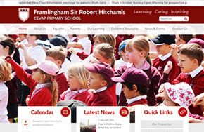 Screenshot of the Framlingham Sir Robert Hitcham's CEVA Primary School website