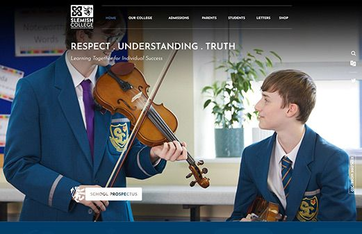 Click to view school website design for Slemish College