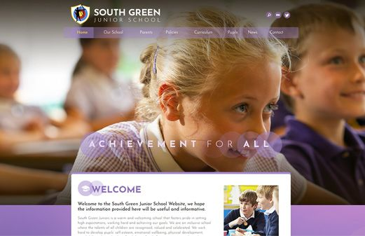 Screenshot of the South Green Junior School website