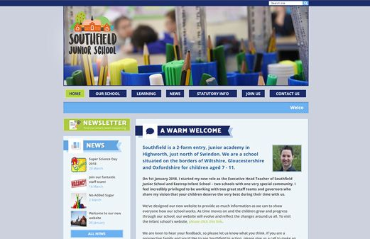 Screenshot of the Southfield Junior School website