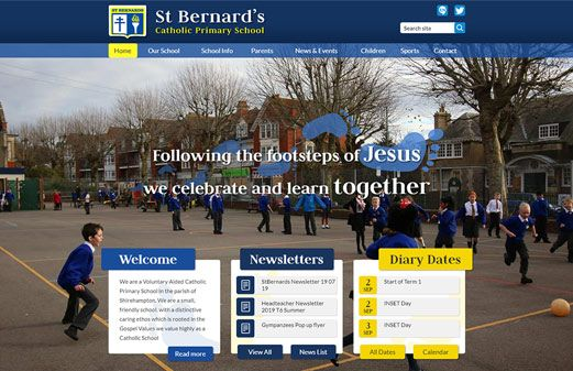 Click to view school website design for St Bernard's Catholic Primary School
