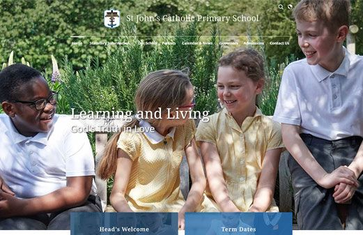 Screenshot of the St John's Catholic Primary School website