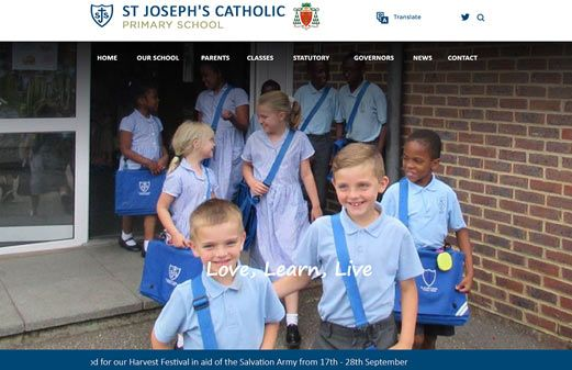 Screenshot of the St Joseph's Catholic Primary School website