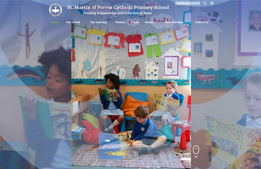 Screenshot of the St Martin of Porres Catholic Primary School website