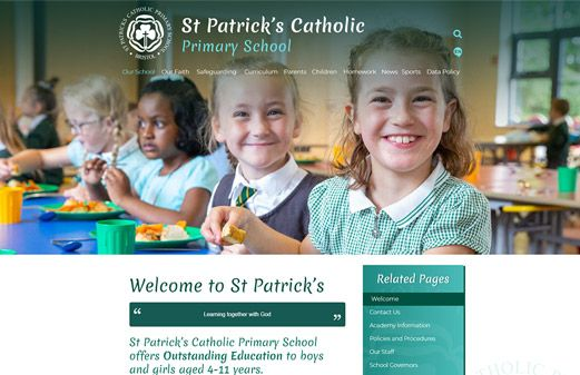 Screenshot of the St Patrick's Catholic Primary School website