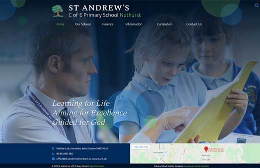 Screenshot of the St Andrew's (Nuthurst) website