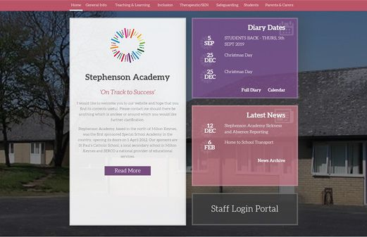 Screenshot of the Stephenson Academy website