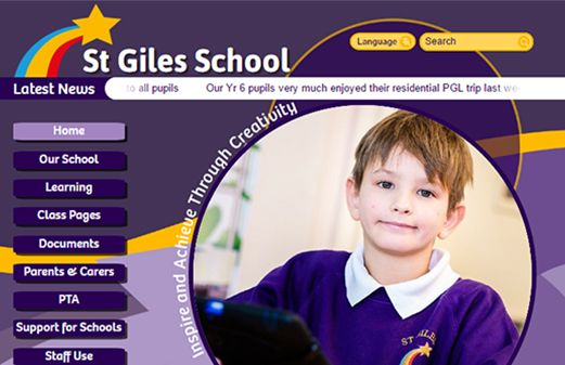Screenshot of the St Giles School website