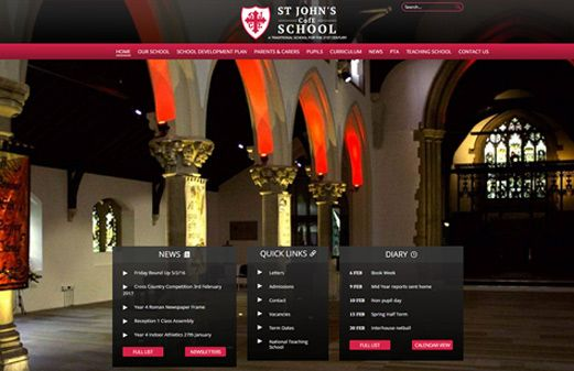 Click to view school website design for St Johns C of E School