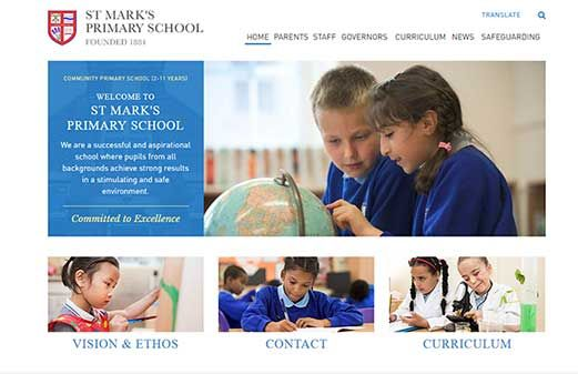 Click to view school website design for St Mark's Primary School and Children's Centre