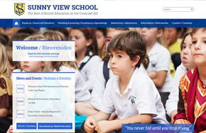 Screenshot of the Sunny View School website