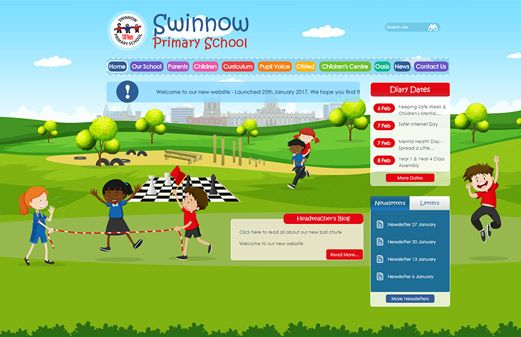 Screenshot of the Swinnow Primary School website