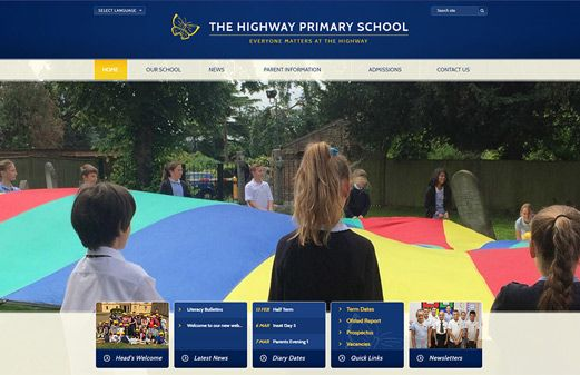 Click to view school website design for The Highway Primary School