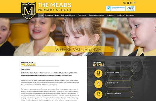 Click to view school website design for The Meads Primary School