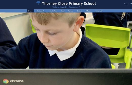 Screenshot of the Thorney Close Primary School website