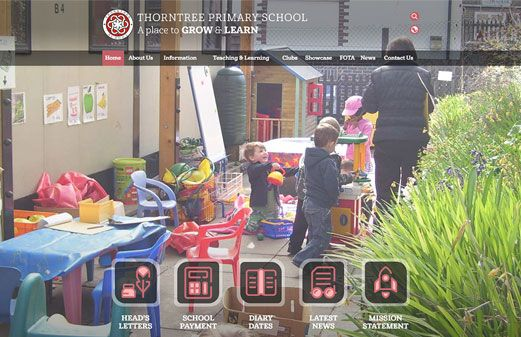 Click to view school website design for Thorntree Primary School