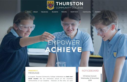 Screenshot of the Thurston College website