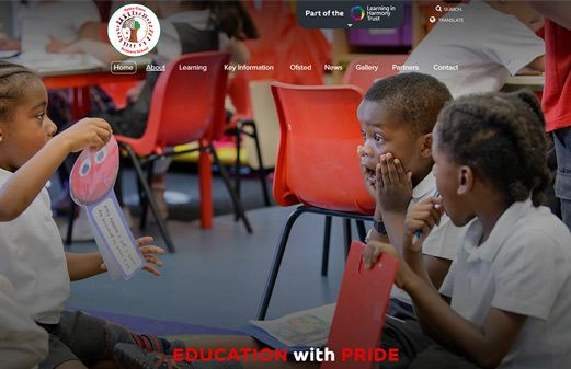 Screenshot of the Upton Cross Primary School website