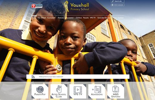 Screenshot of the Vauxhall Primary School website