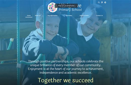 Screenshot of the Walgrave Primary School website