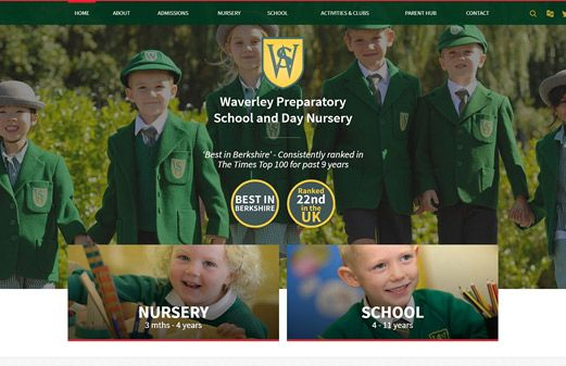 Screenshot of the Waverley School website